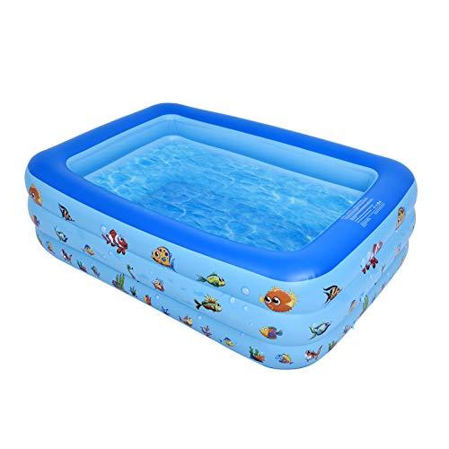 Aufblasbarer Pool, 3-Schichtig Klappbar Familienpool Schwimmbecken für Outdoor, Halten Sie 3-4 Personen, Tragbar Aufblasbarer Planschbecken mit Aufblasbares Loch, für Kinder Zwischen 1 und 4 Jahren