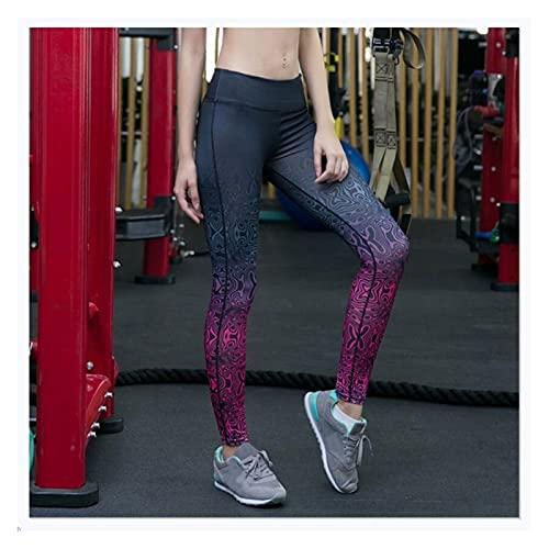Augus Jacob Mujeres Malla Patchwork Deporte Leggings Alto Medias de Cintura Pantalones Deportivos Desgaste para Mujeres Gym Push Up Pantalones de Yoga (Color : DW061, Size : L)