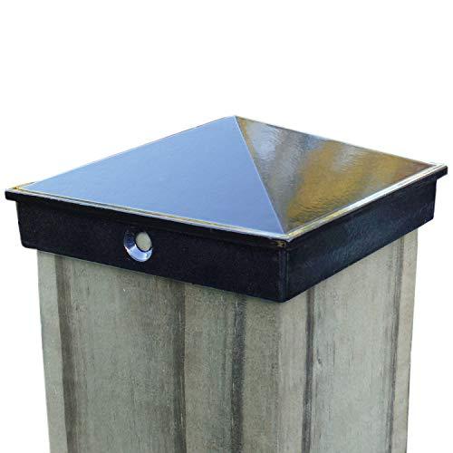 4x4 Fence Post Cap (3 1/2') 4 Pack Black Powder Coated Aluminum - Mailbox, Lamp Post, Deck, Dock, Piling Caps