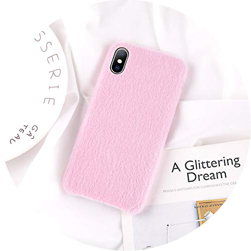 iPhone 8 7 6 6S Plus Hülle für iPhone X XR XS Max Winter Warm Pelz Cover, for iPhone 8, Rose