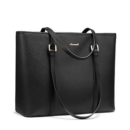 Laptoptas 15,6 inch dames handtas grote stijlvolle shopper schoudertas PU lederen tas zwart voor business/school/winkelen