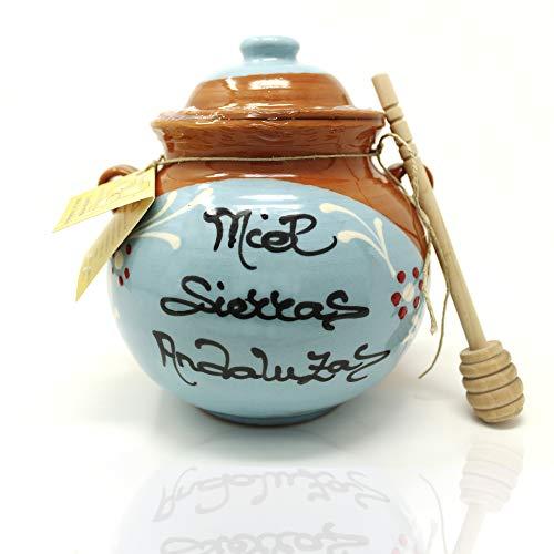 Miel de Azahar 100% andaluza | En tarro artesano cerámico | 800 gramos | Miel monovarietal con cuchara y tarro decorativo