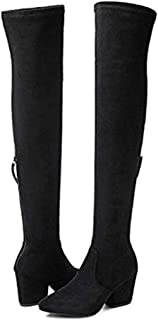 Thigh High Block Heel Boot Women Pointed Toe Stretch Over The Knee Boots