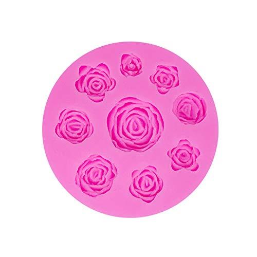 Lsydgn Rosen 3D-silikonform Große Rosen Blumen-silikonform Großen Rosen Fondant silikonform Rose Form silikonform Schokoladenformen DIY Kuchen Süßigkeiten Gelee Backformen Tortedeko (Grün)