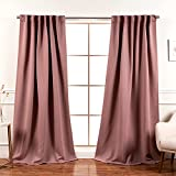 Best Home Fashion Premium Blackout Curtain Panels - Solid Thermal Insulated Window Treatment Blackout Drapes for Bedroom - Back Tab & Rod Pocket – Mauve - 52' W x 63' L - (Set of 2 Panels)