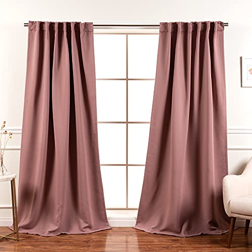 """Best Home Fashion Premium Blackout Curtain Panels - Solid Thermal Insulated Window Treatment Blackout Drapes for Bedroom - Back Tab & Rod Pocket – Mauve - 52"""" W x 96"""" L - (Set of 2 Panels)"""