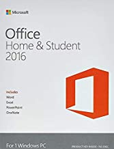 Microsoft Office Home & Student 2016 For 1 Windows PC laptop- Lifetime license (Activation Key Card-Email Delivery)