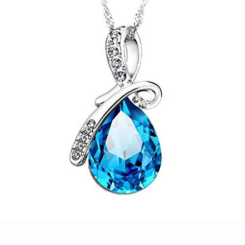 KEPKGO Colgante de cristal de plata de ley 925 para mujer, cadena de clavícula, collar de lágrimas de ángel, collar