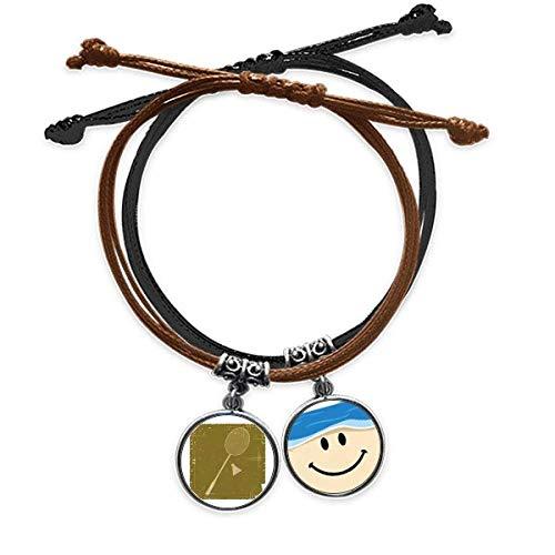 Bestchong Pulsera deportiva con diseño de bádminton con cuerda para la mano, correa de piel sonriente