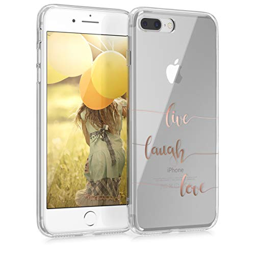 kwmobile Cover Compatibile con Apple iPhone 7 Plus / 8 Plus - Back Case Custodia Posteriore in Silicone TPU Cover per Smartphone - Back Cover Live Laugh Love Oro Rosa/Trasparente