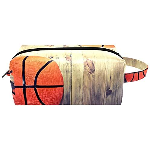 Anmarco Bolso de madera retro de la bola de baloncesto de los artículos de tocador del viaje de la bolsa de cosméticos para las mujeres de la microfibra del cuero del maquillaje de la