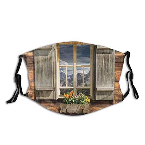 Mundschutz Mund Anti-Staub-Abdeckung,Weathered Facade of A Mountain Hut with Summer Mountain Reflections On Window,Mouth Cver Wiederverwendbare Fack-Abdeckung