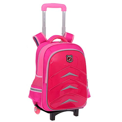 ZZLHHD Trolley Bag School,Waterproof trolley bag, hard shell wear backpack-Rose red_Two rounds,Waterproof Trolley School Bag