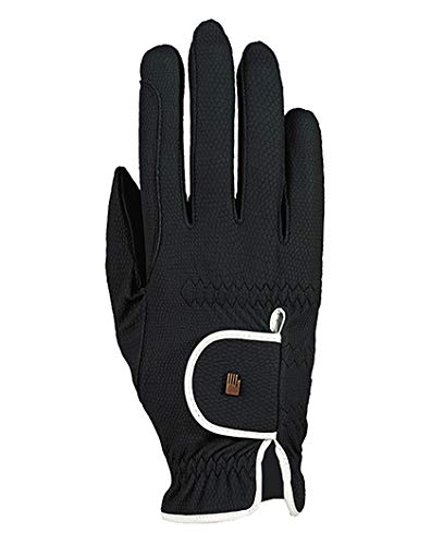 Roeckl Sports Damen Handschuh Lona, Damenreithandschuh, Schwarz/Weiß, 7,5