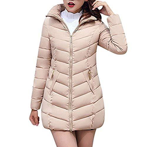 iHENGH Damen Winter Jacke Dicker Warm Bequem Slim Parka Mantel Lässig Mode Reißverschluss Frauen Frauen Lange dünne Coat (Khaki, M)