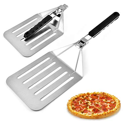 Gobbuy Stainless steel wheel cutter Pizza shovel Foldable pizza peeler Bakery utensils for baking pizzas and cakes in the oven grill