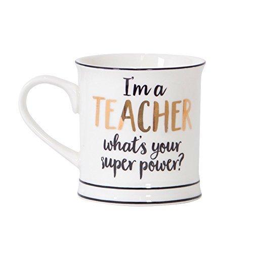 Tasse Kaffeetasse Teetasse I'm a Teacher What's Your Super Power? Gold weiß Schwarz