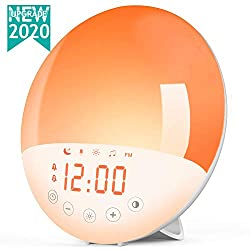 Wake Up Light Alarm Clock, Sunrise Alarm Clock with Sunset Simulation, Dual Alarms Snooze Function, 7 Colors Bedside Night Lamp,8 Natural Sounds&Voice Recorder,USB Charger and FM Radio,Ideal for Gift