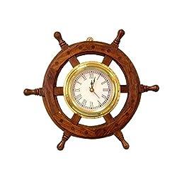 Hampton Nautical Deluxe Class Wood and Brass Ship Wheel Clock 12 - - Nautical Home Decorating