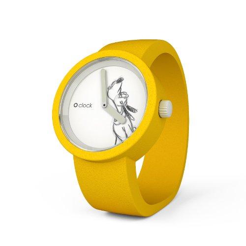 O clock Disney Pluto CLOCKDSGS - Reloj analógico de Cuarzo Unisex, Correa de Silicona Color Amarillo