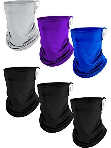 6 Pieces Summer Neck Gaiter Face Covers Non-Slip Milk Silk Face Scarf Balaclava Bandana (Grey, Dark Blue, Purple, Black)