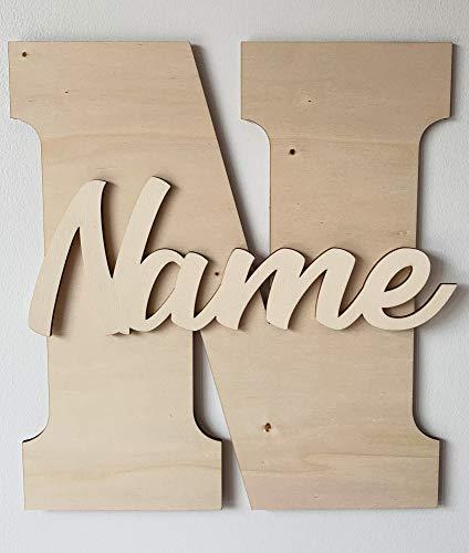 Wunschname Großbuchstabe Holzbuchstabe Baby Name Kinderzimmer Tür Wand Deko Kind Schild