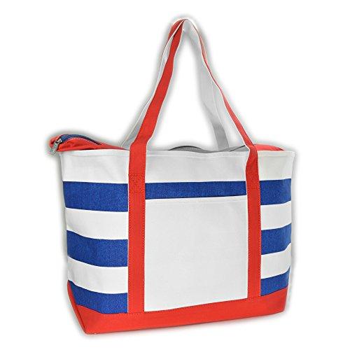 DALIX Striped Boat Bag Premium Cotton Canvas Tote in Red White Royal Blue