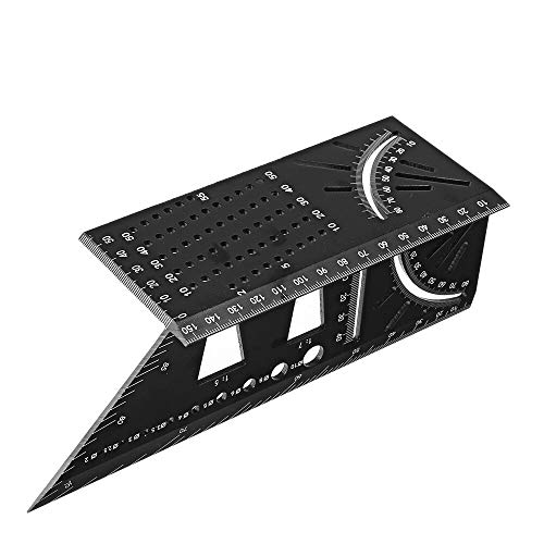 Aluminum Alloy 3D Mitre Angle Measuring Square 45 90 Degree Angle Ruler Punctuation Marking Gauge Framing Angle Protractor