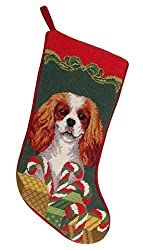 Cavalier King Charles Spaniel Dog Needlepointクリスマスストッキング[D&E/Amazon]
