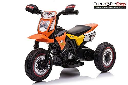 Tecnobike Shop Moto Elettrica per Bambini Mini Cross 6V Triciclo (Arancione)