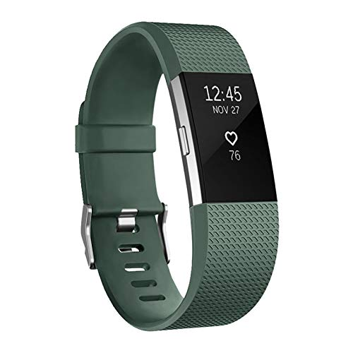POY Replacement Bands Compatible for Fitbit Charge 2, Classic & Special Edition Adjustable Sport Wristbands (Olive Green, Small)