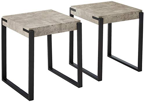 Christopher Knight Home Bates End Tables Modern Contemporary Faux Wood Top Metal Legs Light Concrete And Matte Black Set Of 2 Buy Online In Grenada At Grenada Desertcart Com Productid 152492217