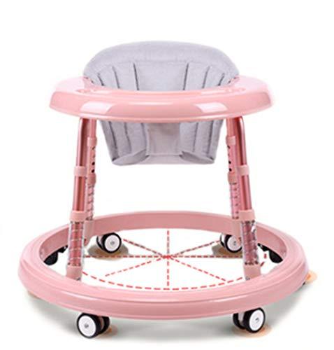 HHORD Baby Walker 6-7-18 Mois Voiture de Marche pour bébé Multifonctionnel Anti-retournement Pliant, Voiture d'apprentissage Toy Baby Safety Walker Safety Gear Adjustable, Pink