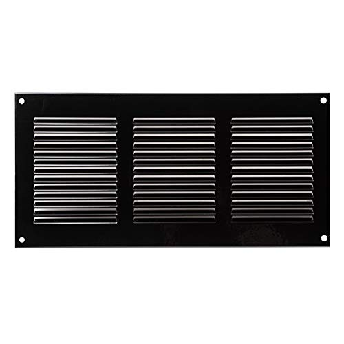 300x150mm // 12x6 inch Black Air Vent Grille Cover Ventilation Cover, Metal, with Insect Protection