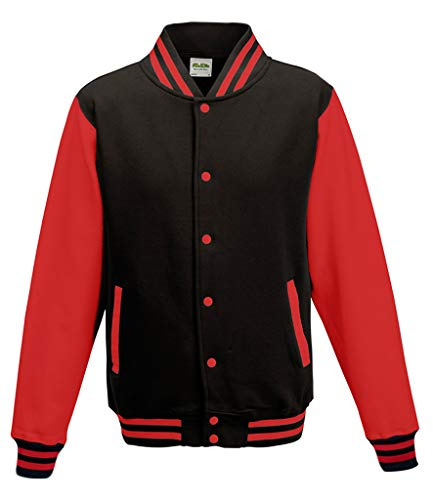 Awdis Unisex Varsity Jacket (XXX-Large, Black/Red)