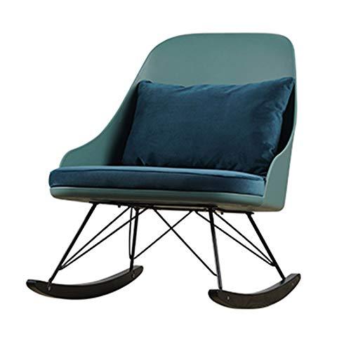 XLSQW Entspannung Schaukelstuhl Lounge Chair, Chaise Sunbathing Stuhl Verdickter Schwamm Komfortables Entspannung Schaukelstuhl PP Sitz Eisenrahmen Blau Samtkissen,B