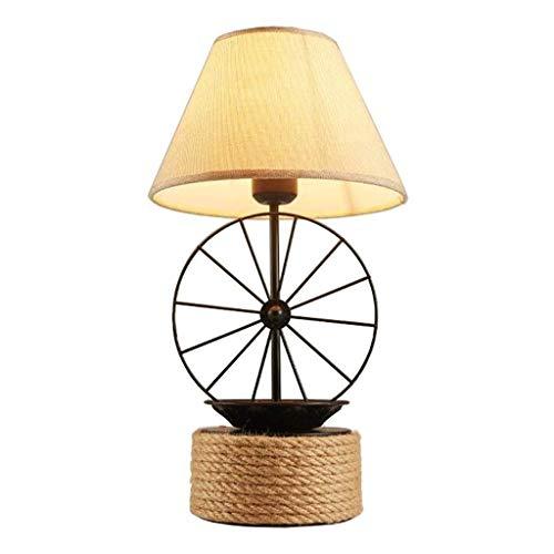 Mjd Lamp tafellamp van smeedijzer, bedlampje, kantoor, slaapkamer, woonkamer, lamp henneptouw en wiel, bureaulamp