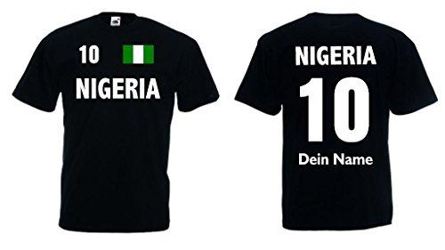 Fruit of the Loom Nigeria T-Shirt mit Wunschname und Wunschnummer Trikot s-s