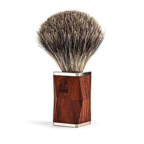 A.P. Donovan - Rasierpinsel - Griff ist aus sehr edlem rötlichen Padouk Holz - handgefertigt - dichte und weiche Borsten aus Silberdachshaar