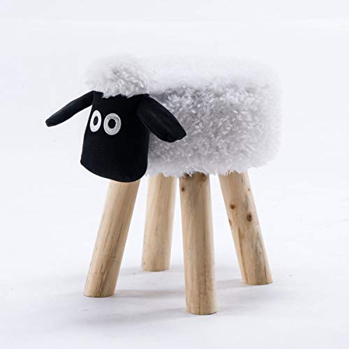 THC Living Tierhocker klein Stoff Holzbeine Deko Hocker Kinderhocker Wilde Tiere Kinder Hocker Wild Animals (Schaf)