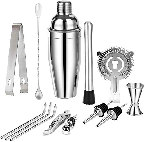 KARLOR Cocktailshaker Set, Cocktailset 13-teiliges Cocktailmixer Set, Edelstahl 750 ML Cocktail Barkeeper Set mit Cocktail Shaker Mixer Barlöffel Eisbrecher Filtersieb Messbecher Geschenk Zuhaus Bar