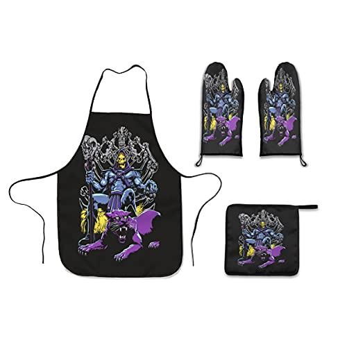 Skeletor Throne - Juego de delantal de cocina (4 piezas), delantal de cocina, guantes de horno, agarradera de cocina para mujer
