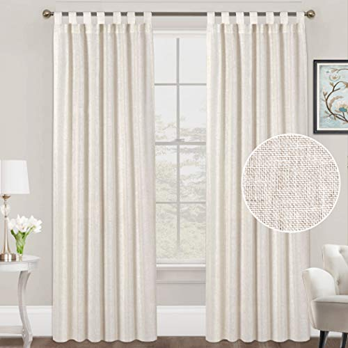 FantasDecor Linen Curtains Natural Linen Blended Curtains Tab Top Curtains Privacy Added Window Treatments Drapes for Living Room Light Filtering Curtains 2 Panels, 52 by 84 Inches, Natural