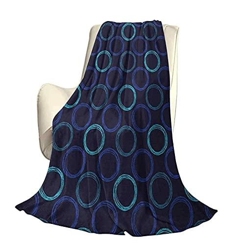 Coperta da campeggio geometrica per auto Coperta a scialle Scribble Art Style Cerchi Forme di anelli su sfondo scuro Anti sbiadimento Senza palline Senza rughe Senza spargimento W60 x L50 po