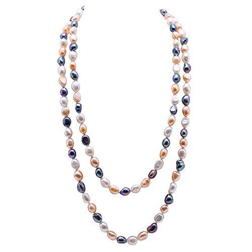 JYX Collana lunga di perle d'acqua dolce 7-8 mm irregolare collana di perle coltivate da donna 121,9 cm, Perla, perla,