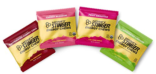 Honey Stinger Organic Energy Chews  Variety Pack With Sticker  4 Count  1 of Each Flavor  Chewy Gummy Energy Source for Any Activity  Cherry Blossom, Lime-Aid, Cherry Cola & Fruit Smoothie