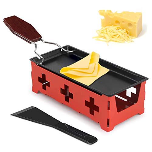 Bandeja De Hornear De Queso Estufa, Mini raclette portátil para Queso, fundidor de Queso, con Espátula de Silicona para Derretir Queso, Chocolate, Mantequilla (Rojo)