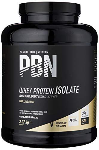 Premium Body Nutrition - Aislado de proteína de suero de leche en polvo (Whey-ISOLATE), 2,27 kg, sabor vainilla (75 porciones)