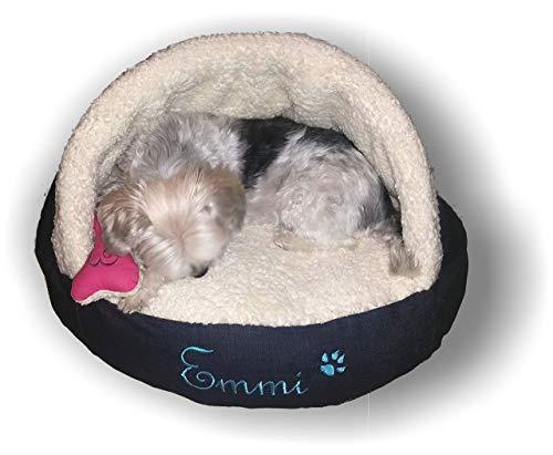 LunaChild Hunde Kuschelhöhle Lounge creme, pink, dunkelblau, hellblau, schwarz, Tiger braun, Schlangen Jeans Hundebett Name Snuggle Bag Größe S M oder L in 15 Farben erhältlich