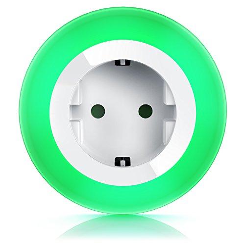 CSL - Nachtlicht mit Steckdose Orientierungslicht Nachtlampe - integrierter Helligkeits- Dämmerungssensor - Soft-Touch-Taste für Farbeinstellung - drei wählbare LED-Farben